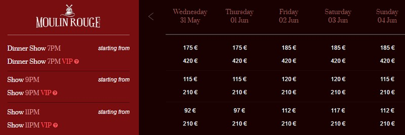 Moulin Rouge tickets price